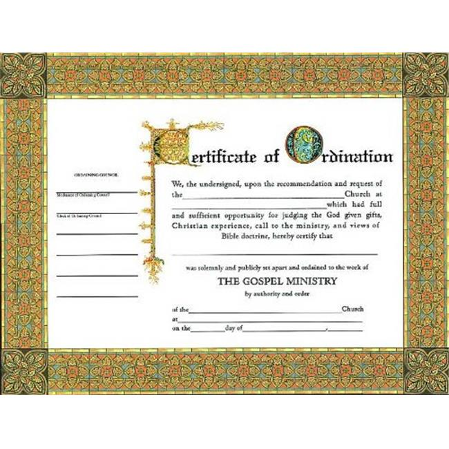 B & H Publishing 152905 5.5 x 3.5 in. Certificate Ordination Minister - Pack of 6