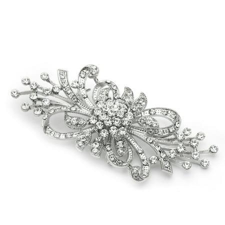 Mariell Vintage Design Bridal Crystal Brooch Pin - Antique Silver Rhinestone Fashion Accessory Sterling Silver Womens Brooch