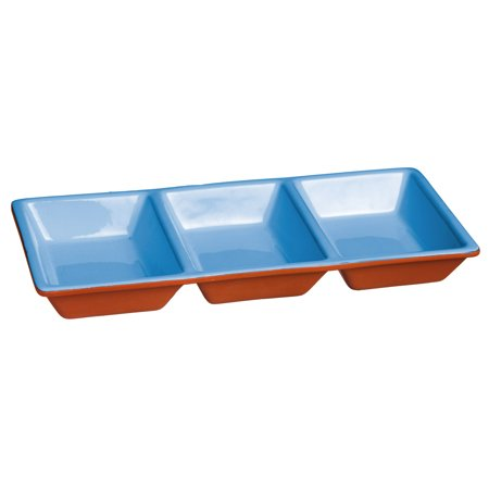 Natural Blue-Dipped Terra Cotta 3-Section Server