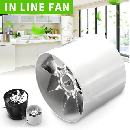 "4"" (White) 6"" (Black) Duct Booster Inline Exhaust Ducting Blower Fan Cool Vent Metal Blade Air Cooling Ventilation Vent Kitchen Bathroom Window Home Grow Tent"