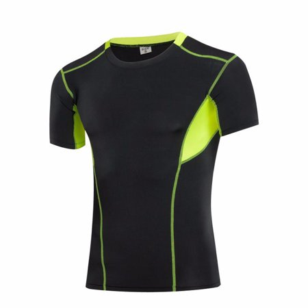 Compression T Shirt for Men Moisture Wicking Short Sleeve Tee for Sports Golf Cross Training FREE Eyeglass Pouch by Juniper's Secret (Black/Yellow,