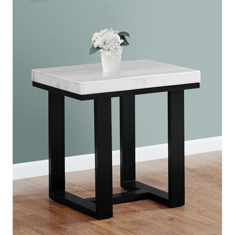 Steve Silver Lucca White Marble Top End Table Walmart Com Walmart Com