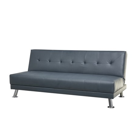 Lyla Steel Blue Leather Sofa Bed