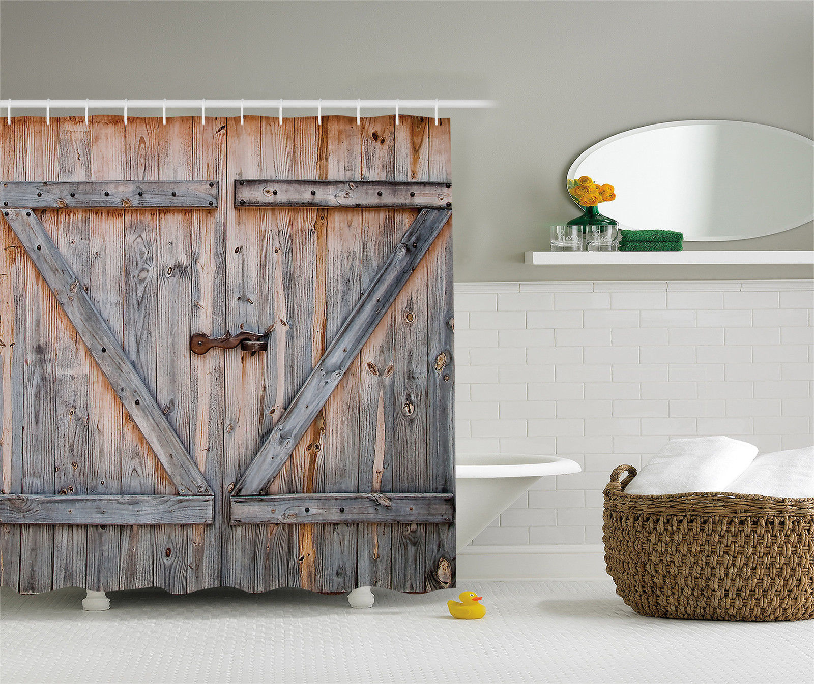 Country Decor Old Wooden Garage Door American Style Vintage Shower Curtain Brown by Kozmos