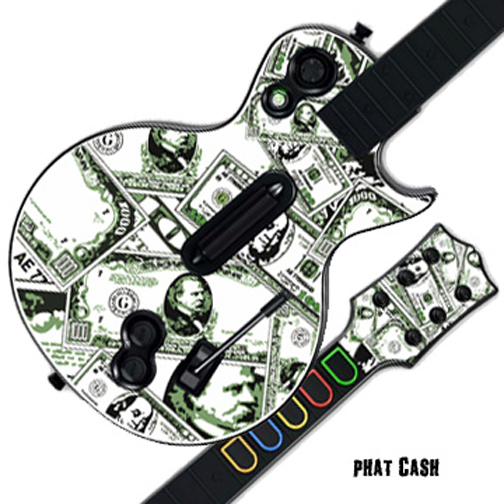 Mightyskins Protective Skin Decal Cover Sticker for GUITAR HERO 3 III PS3 Xbox 360 Les Paul - Phat Cash