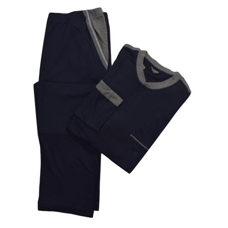 Nero Perla Navy Cotton Pajama Set 3XL