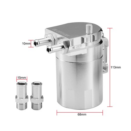 Aluminum Engine Silver Baffled Oil Catch Can Tank Reservoir Breather With Fittings Solid - image 5 of 7