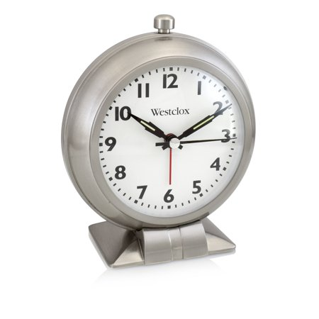 Westclox Loud Bell QA Metal Alarm Clock with Silent Movement, 4.5W x 2.25D x 5.5H In. Metal Alarm Clock Bells