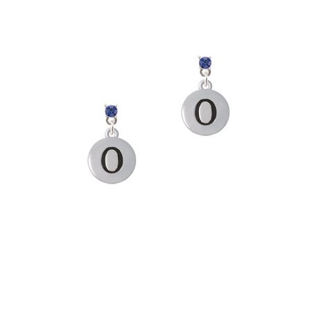 Capital Letter   O   Pebble Disc    Blue Crystal Post Earrings