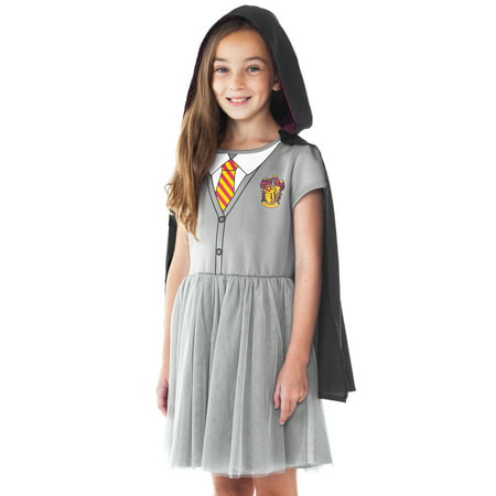 Girls Harry Potter Hermione Halloween Costume Dress w/ Cape Cosplay
