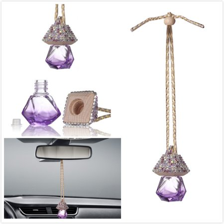Car Mirror Hanging Decoration, MINI-FACTORY Bling Purple Crystal Diamond Bottle for Car Mirror