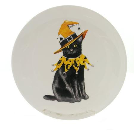 Tabletop HALLOWEEN ACCENT PLATE Stoneware Black Cat Toilet - Toilet Paper Craft Halloween