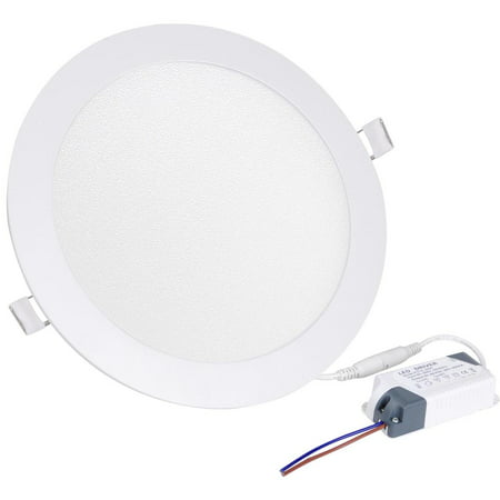 Yescom LED Recessed Ceiling Round Panel Down Bright Light Downlight White Lamp W/ Driver