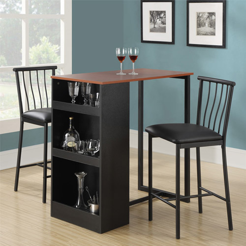 dorel living isla 3-piece counter height dining set with storage