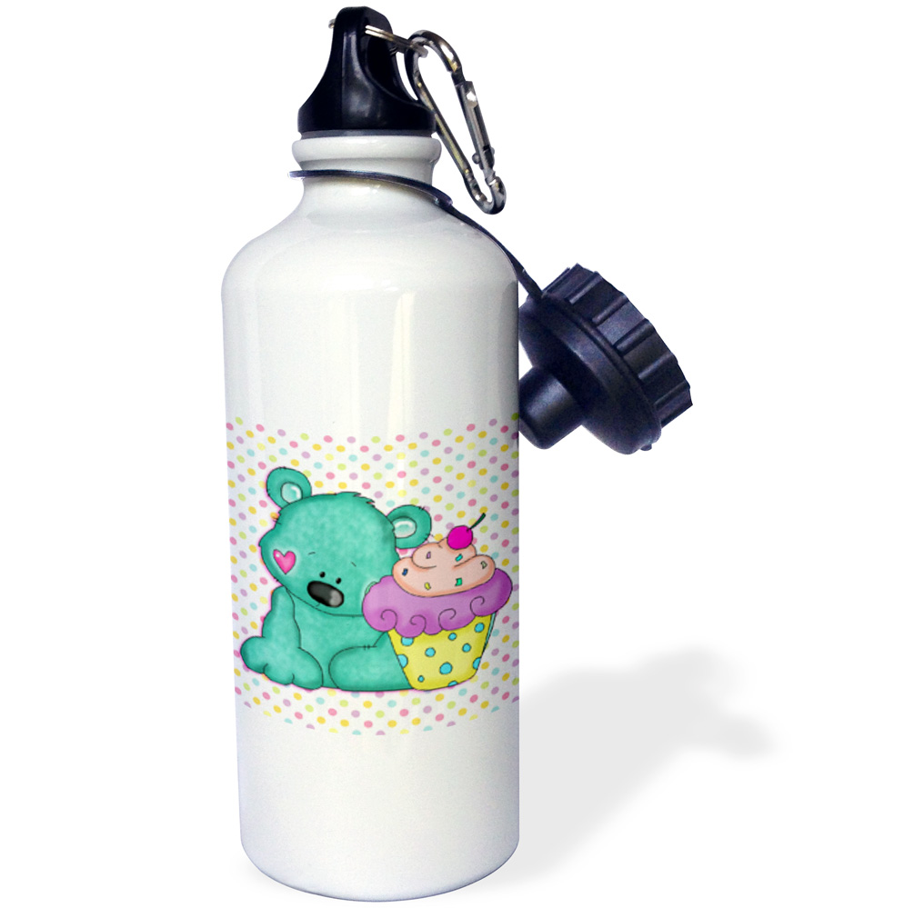 3dRose Cute Blue Bear WIth Yummy Purple Cupcake On Pastel Polka Dots Background, Sports Water Bottle, 21oz