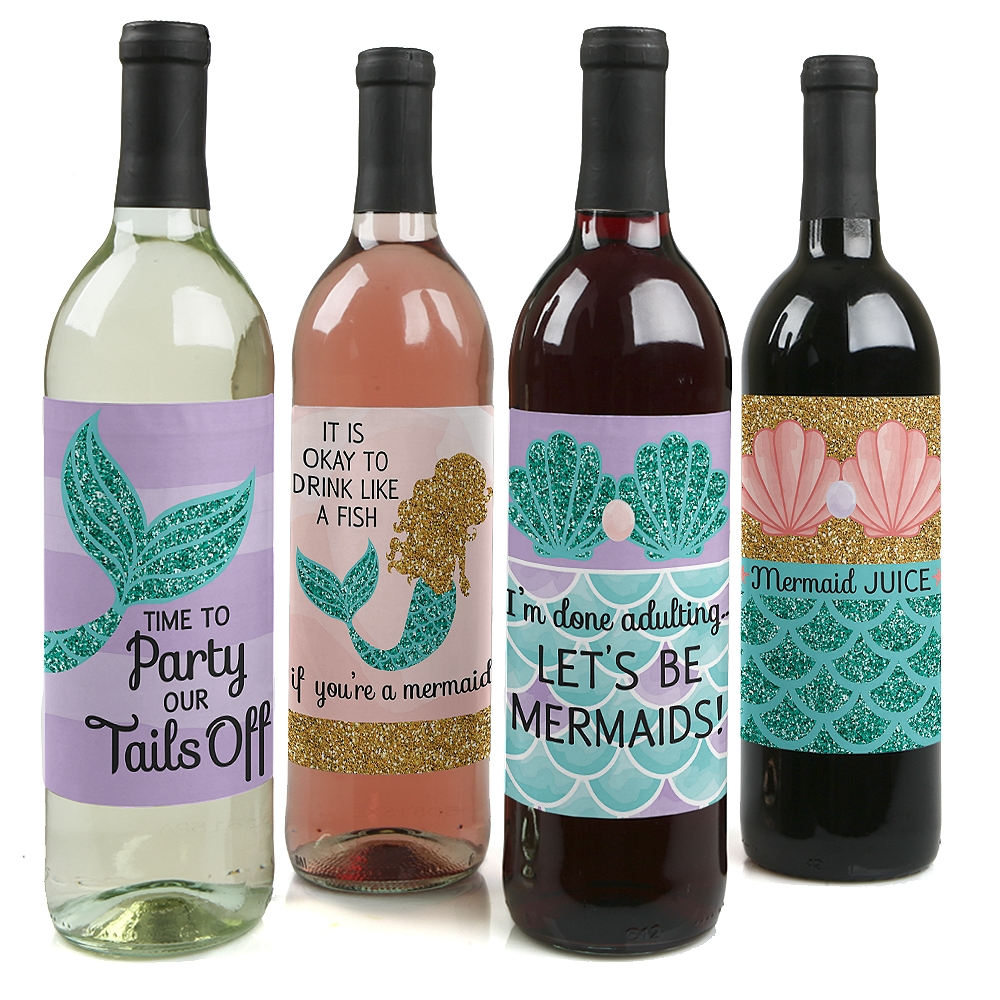 Let's Be Mermaids - Baby Shower or Birthday Party Wine Bottle Labels - Set of 4