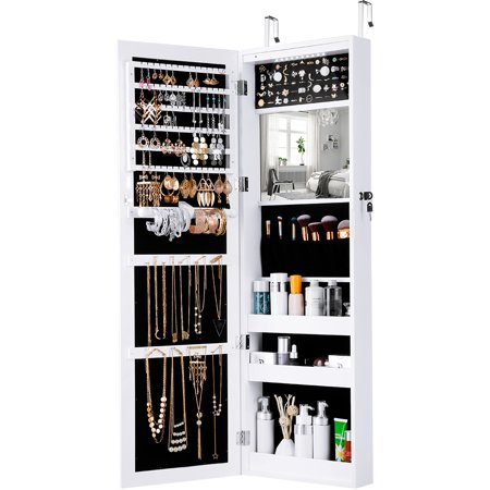 Mirrored Jewelry Armoire with 10 Automatic LED Lights and Full-Length Mirror Wall Door Mounted Cabinet Organizer with Spacious and Stylish Wooden Design for Necklaces, Rings, Bracelets (White) (Mission Style Jewelry Armoires)