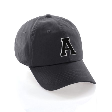 Custom Dad Hat A-Z Initial Raised Letters Classic Baseball Cap - Charcoal Hat with White Black Letter