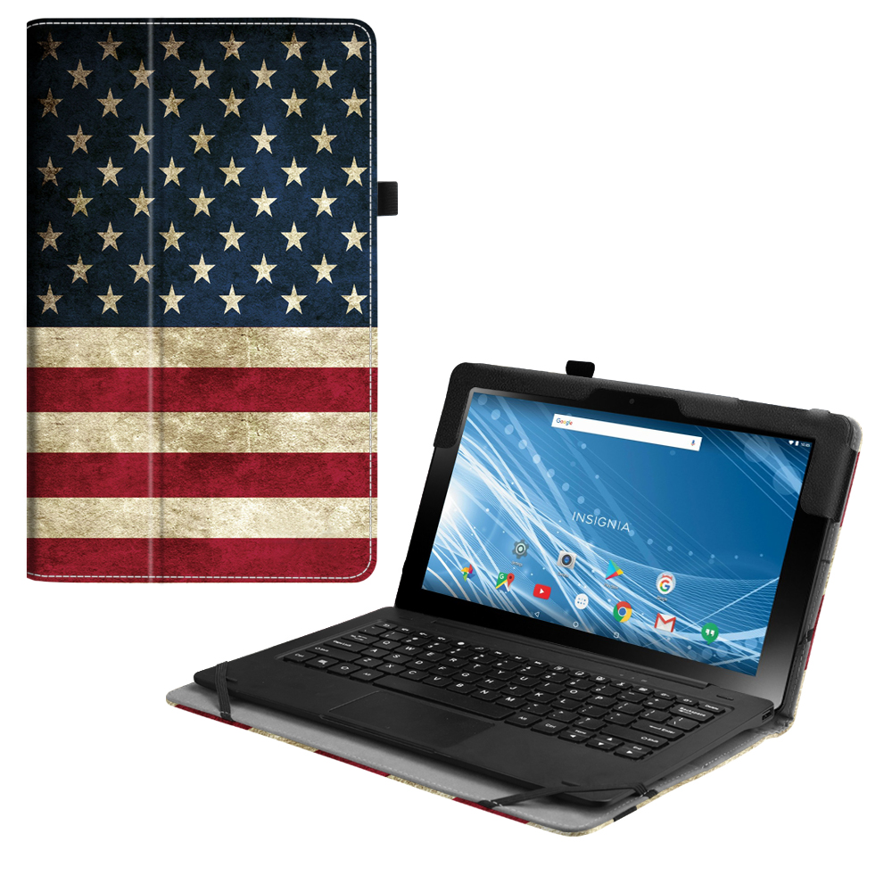 For Insignia 11.6 Hybrid Tablet Case (NS-P11A8100/NS-P11W7100), Fintie Slim Premium Vegan Leather Stand Cover US Flag