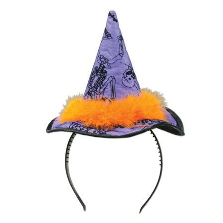 Club Pack of 12 Halloween Purple Witch Hat Headbands - Metal Head Halloween Costume
