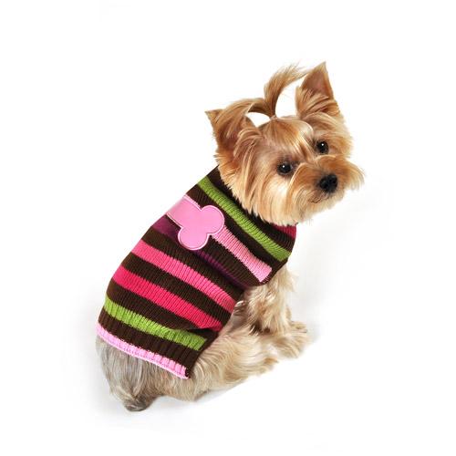 SimplyDog Bone Dog Sweater, Purple & Brown Striped