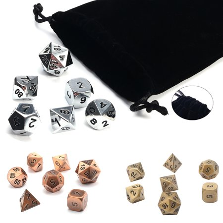 Metal Combo Dice - 7Pcs/set Antique Metal Polyhedral Dice w Bag DND RPG MTG Role Playing Board Game