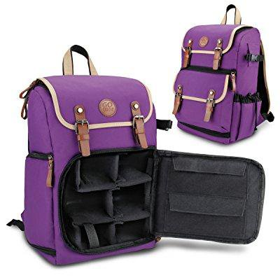 GOgroove Mid volume Digital SLR Camera Backpack  Purple  with Tablet Compartment, Customizable Dividers for Accessory Storage, Tripod Holder and Weatherproof Rain Cover