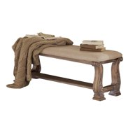 Bowery Hill Upholstered Bench in Cream and Antique Linen