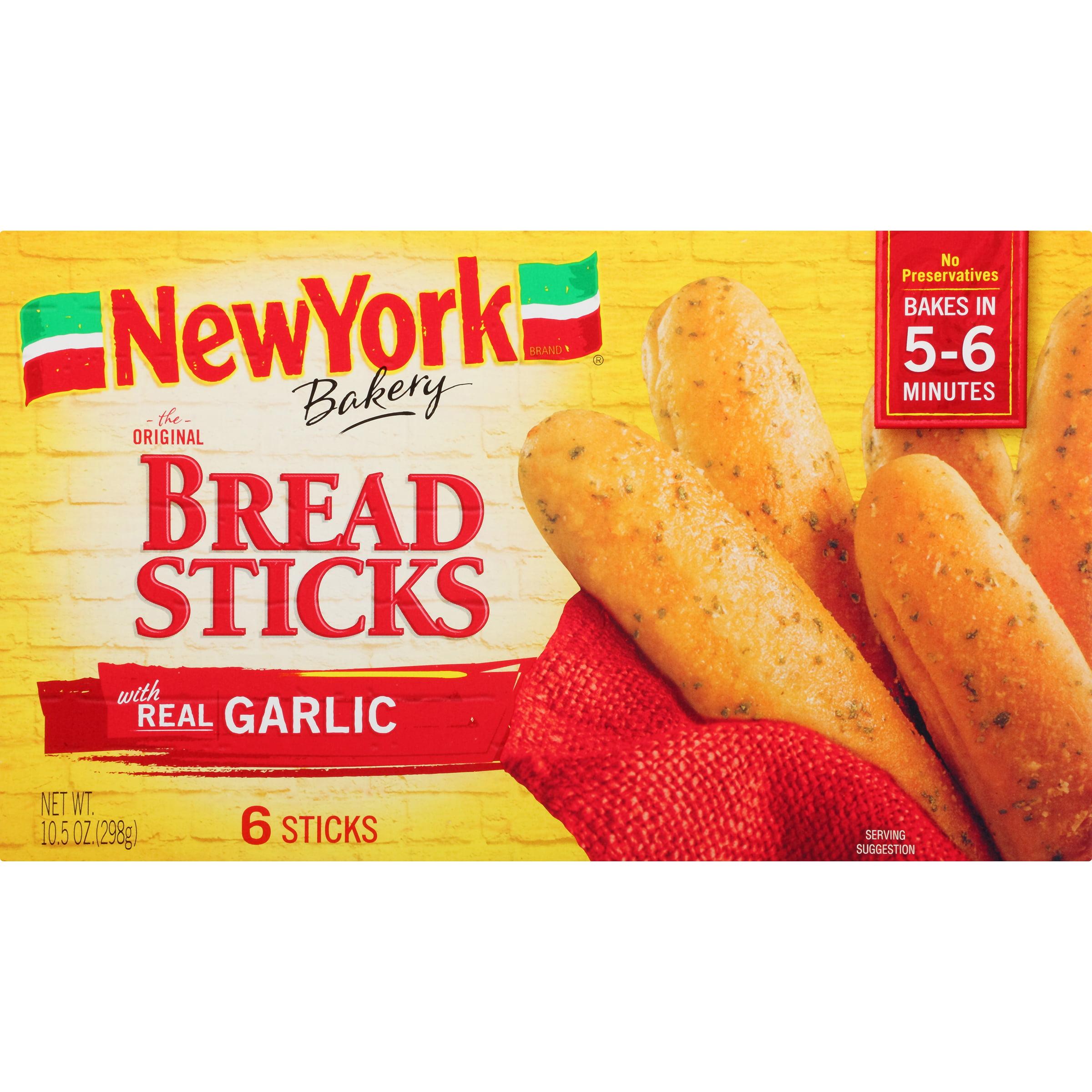 New York Bakery Original Bread Sticks with Real Garlic, 6 sticks