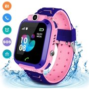 LNKOO Kids Smartwatch Waterproof AGPS Tracker Anti-Lost Smart Watch Phone for Children 3-12 Girls Boys SOS Call Remote Camera Two Way Call Touch Screen Games Christmas Birthday-Pink