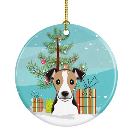 Christmas Tree and Jack Russell Terrier Ceramic Ornament