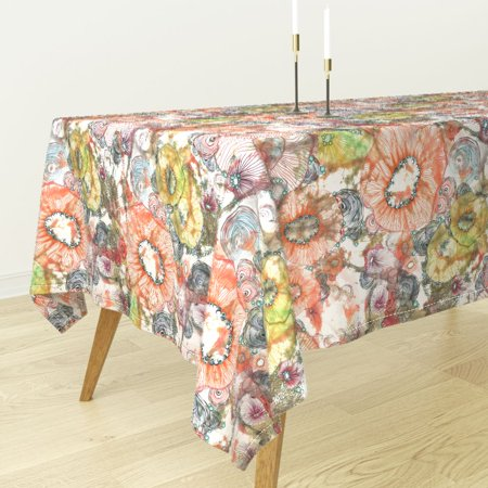 Tablecloth Cosmos Abstract Watercolor Shabby Chic Floral Oversize Cotton Sateen - Oversized Tablecloths