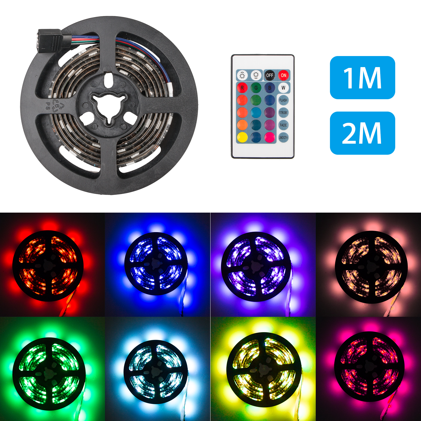 LED Strip Waterproof 18 LED Battery-powered Adhesive Tape Light TV Bike Outdoor