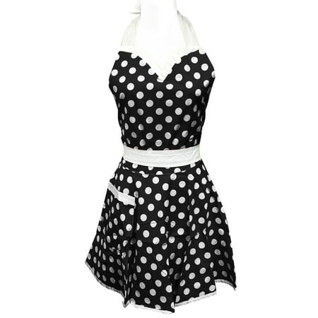 Wrapables® Adjustable Flirty Hostess Apron, Black Polka (Kids Polka Dots Apron)