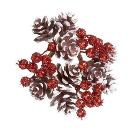 Pinecone Red Berry - Darice Pinecone and Berry Candle Ring Glitter Brown White And Red 4 Inches