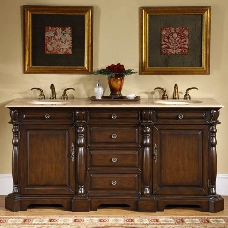 72 in. Cynthia Double Sink Bathroom Vanity in Dark Chestnut (Travertine Stone)