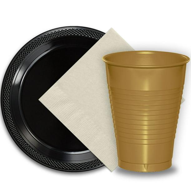 "50 Black Plastic Plates (9""), 50 Gold Plastic Cups (12 oz ..."