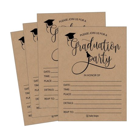 25 Rustic 2018 Graduation Party Announcement Invitations For College, High School, University Grad Celebration Invite Cards, Black and Gold Fill In Invite For Graduation Party Decorations Supplies (Creative Halloween Party Invitations Ideas)
