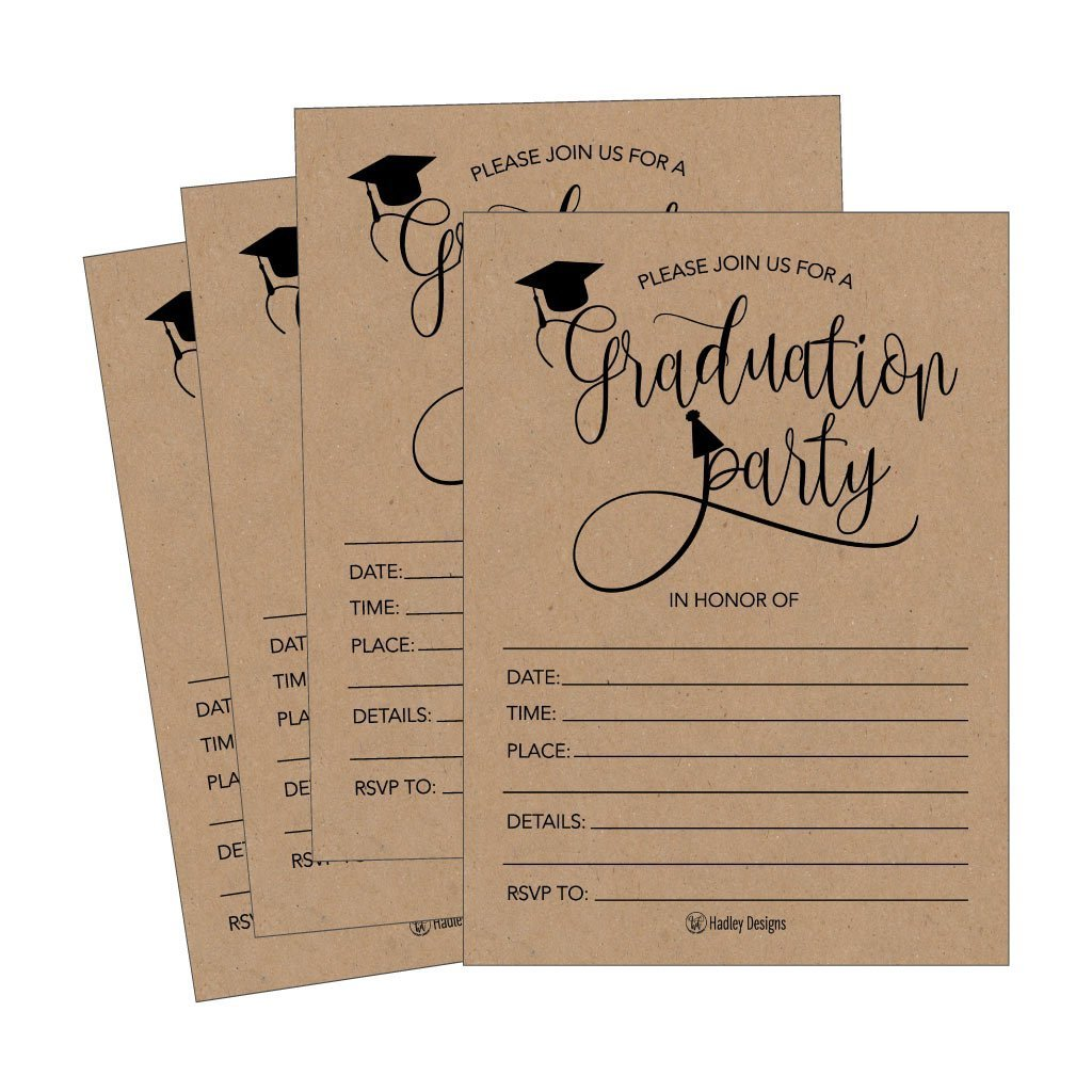 25 Rustic 2018 Graduation Party Announcement Invitations For College, High School, University Grad Celebration Invite Cards, Black and Gold Fill In Invite For Graduation Party Decorations Supplies