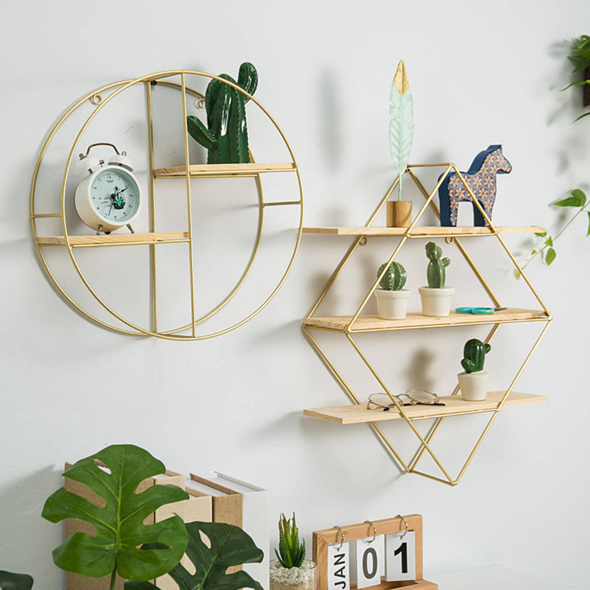 Metal Grid Wall Shelf Hanging Rack Bookcase Storage Holder Floating Display Shelves Home Decor Round Rhombus Triangle Aircraft Only Wall Shelf