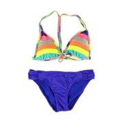 Hobie Womens Striped Side Tab 2 Piece Bikini, multicoloured, Small