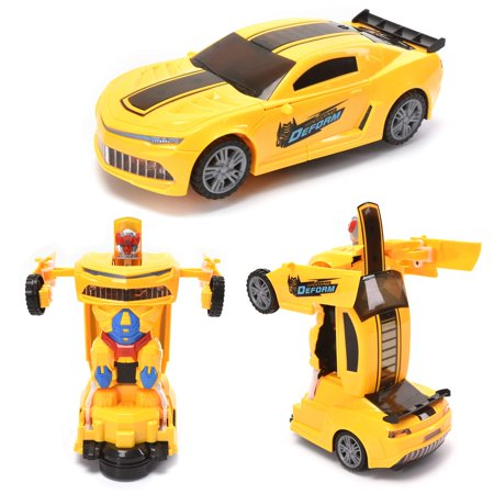 WonderPlay Transforming Toys Bumble Bee Car for Kids, Auto Transforming Auto Robots Action Figure and Toy Vehicles, Realistic Engine Sounds & Beautiful Flash
