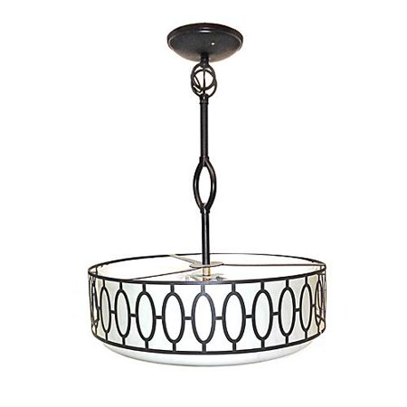 - Design House 605931 Tristan 3 Light Frosted Glass Drum Pendant Aged Bronze