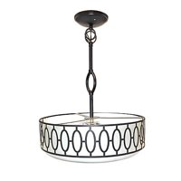 Design House 605931 Tristan 3 Light Frosted Glass Drum Pendant Aged Bronze