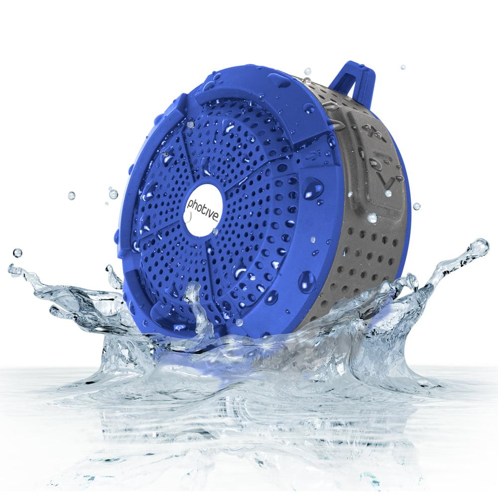 Photive Rain Waterproof Portable Bluetooth Shower Speaker. Rugged Wireless Outdoor & Shower Speaker with Built in Hands-Free Microphone
