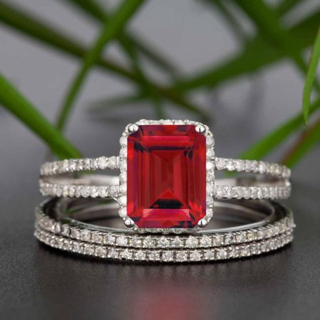Beautiful 2 Carat Emerald Cut Real Ruby and Diamond Wedding Trio Ring Set with Engagement Ring and 2 Wedding Bands in 18k Gold Over Sterling Silver