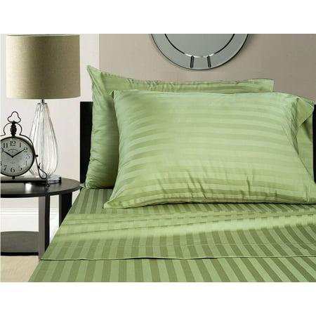 "600 TC 100% Nature Grown Cotton Stripe Sage, Twin (36""x 72"") Sleeper Sofa Sheet Set with 12 Inch Drop Length"