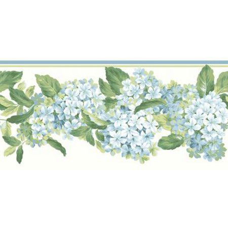 York Wallcoverings Blooms AK7437B Hydrangea Wallpaper Border, Blue