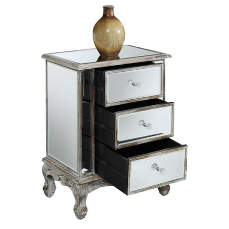 Convenience Concepts Gold Coast Vineyard 3 Drawer Mirrored End Table - image 2 de 3