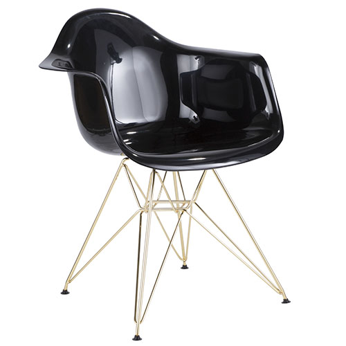Neo Flair Contemporary Dining/Accent Chair in Black and Gold by LumiSource
